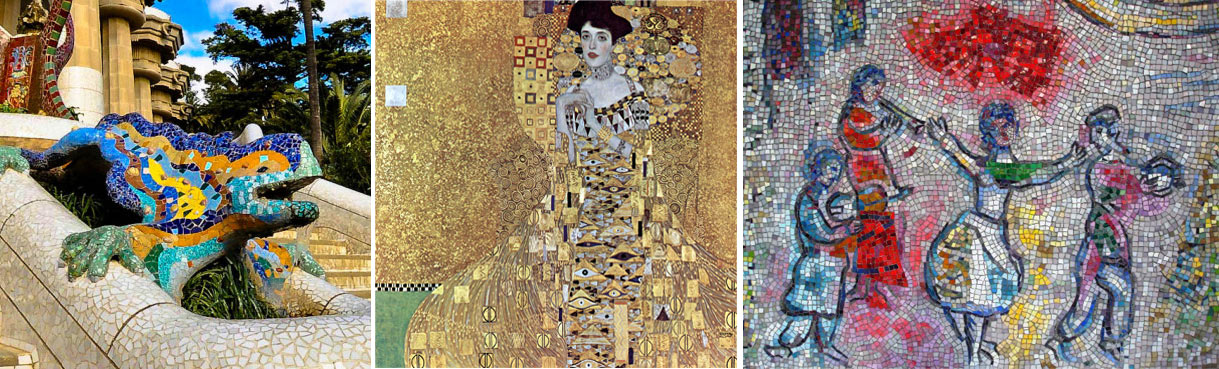 image en mosaïque artiste Klimt, Gaudi et Chagall