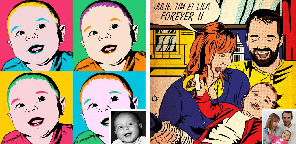 tableau pop art Andy Warhol Lichtenstein votreportrait.fr