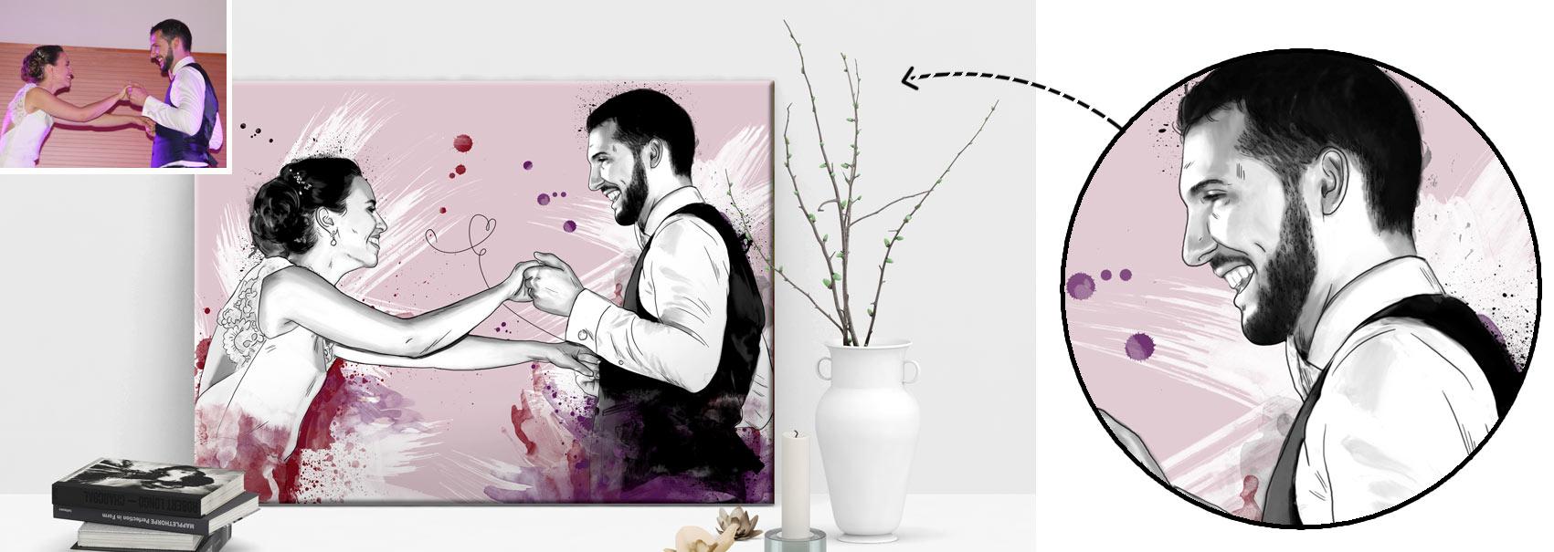 portrait graphique en esquisse, idée cadeau saint-valentin