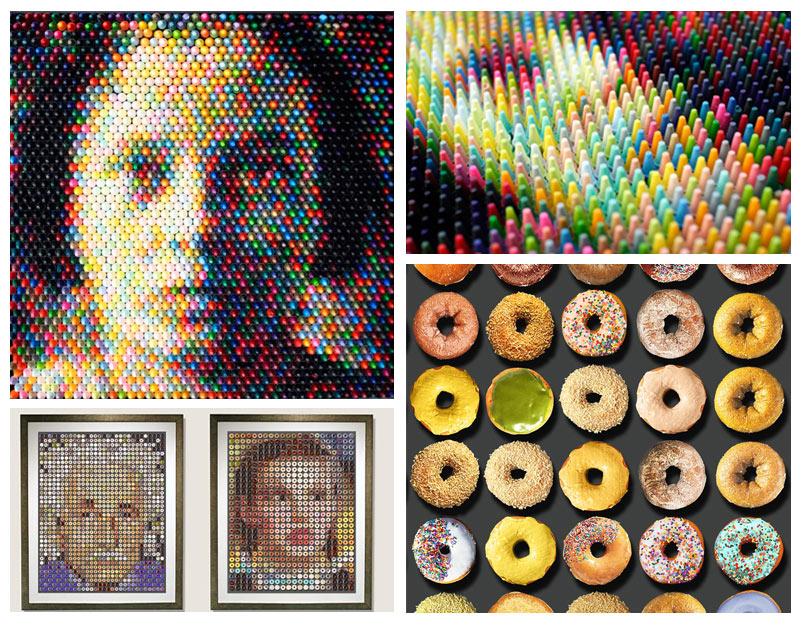 mosaïque d'objets, assemblage de donuts ou de crayons